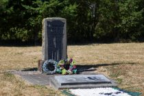 Jefferson Davis highway markers were vandalized at Jefferson Davis Park in Ridgefield, seen Friday afternoon on Aug. 18, 2017 (Andy Bao/The Columbian).